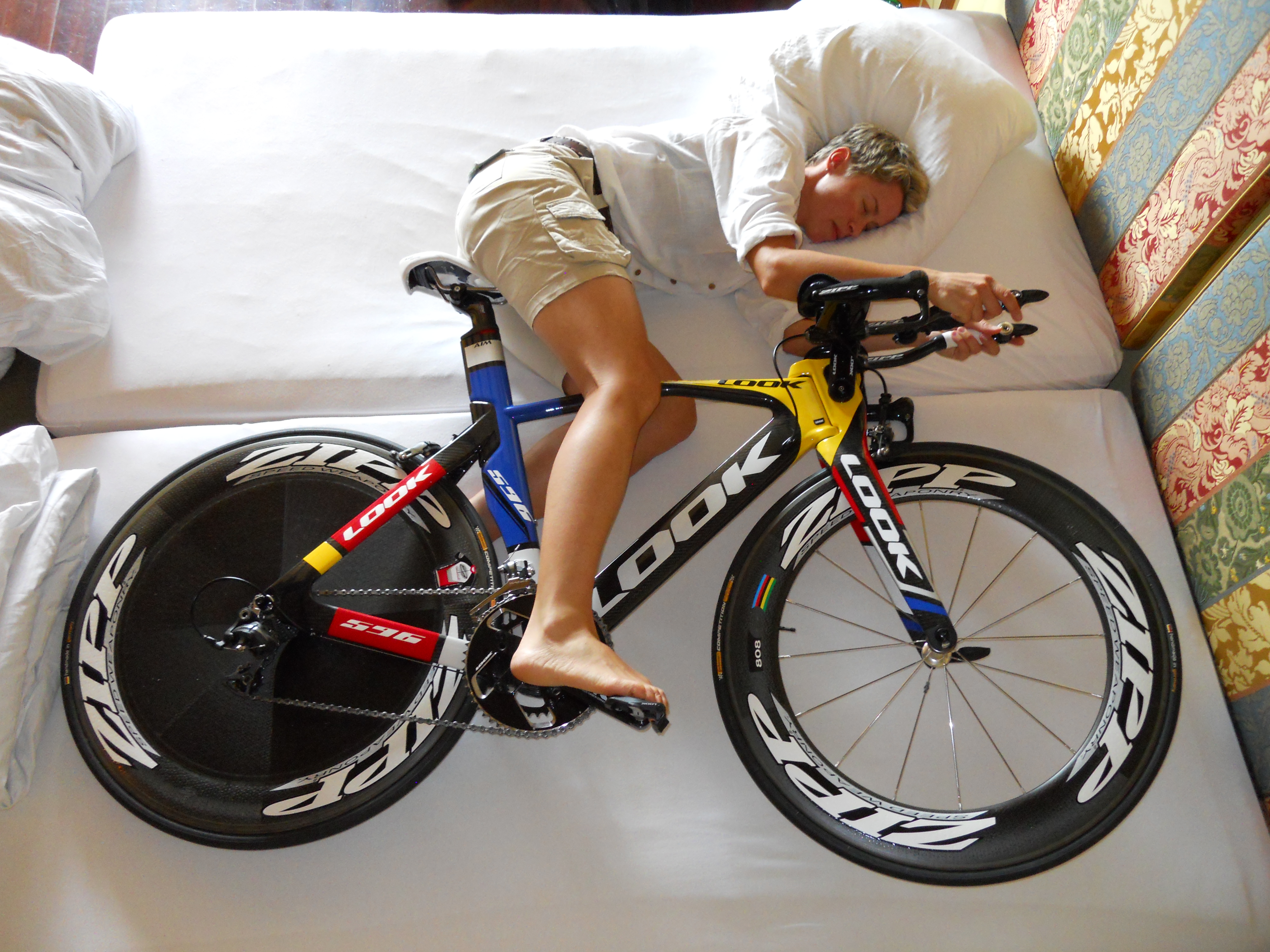 Cyclist Sleeping with Bike